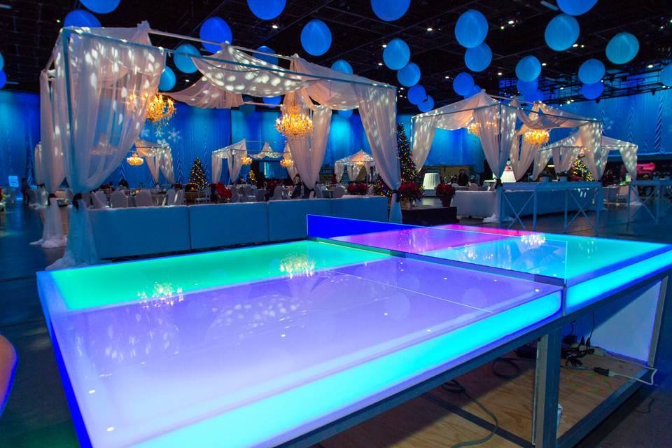 Glow in the dark ping pong table over 21 party rentals for Table rentals